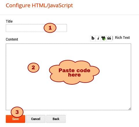 title de aur html code ko content box me paste karke save kar de