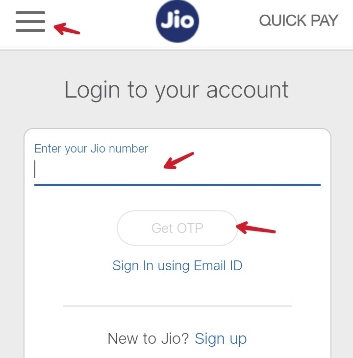 enter your jio number and click on get otp