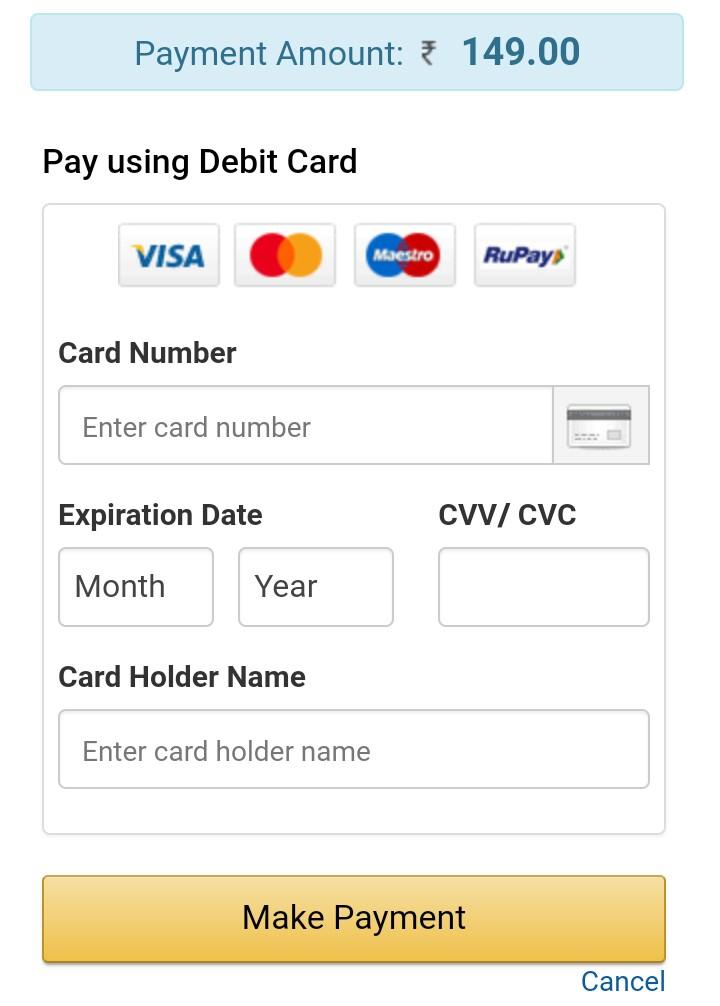 fill debit card number cvv and make payment