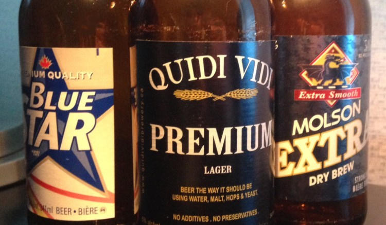 Beers Only Available In Newfoundland. Blue Star, Quidi Vidi Premium, Molson Extra.