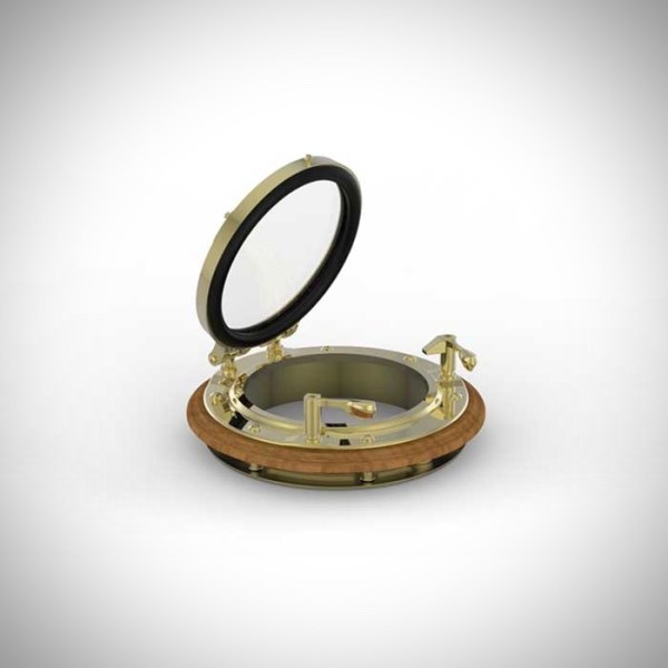 """image of our 8"""" round bronze portlight with a teak spacer"""