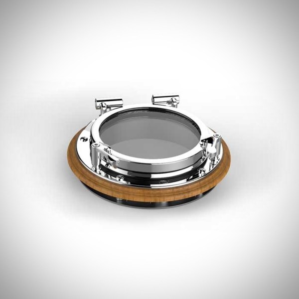 """image of our 6"""" round stainless steel portlight with a teak spacer"""