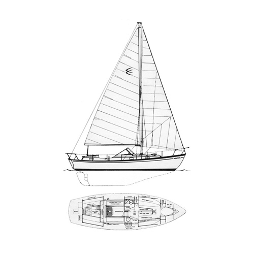 Illustration of a Chris Craft Sail Yacht 35