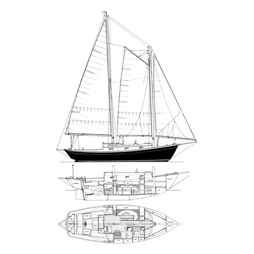 Illustration of a Herman Schooner Lazyjack