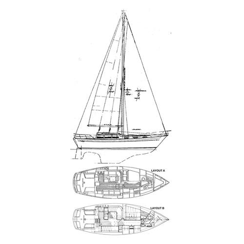 Illustration of an Islander 36 Freeport