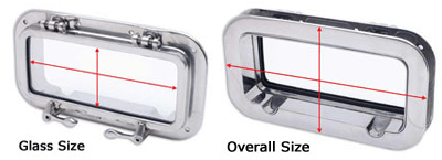 image of portlight glass size vs. overall size
