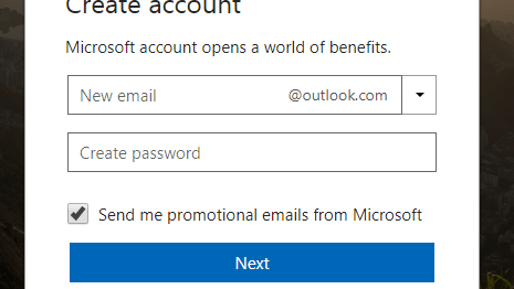 Hotmail new account registration form