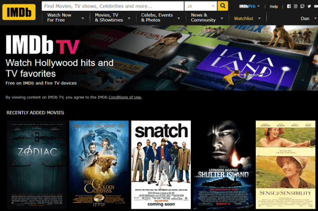 IMDB TV - 16 Free New Release Movie Stream Sites No Sign Up