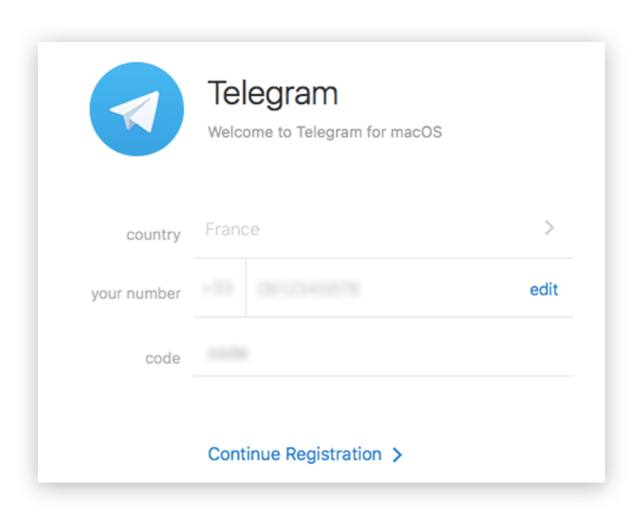 Telegram Account Signup