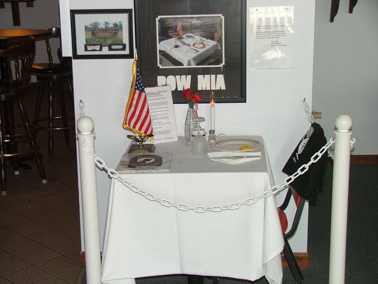 & Table setting for POW/MIA