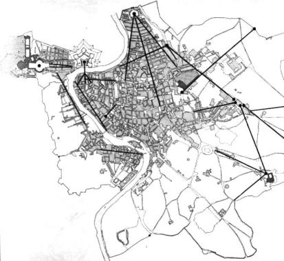 Map of new avenues in Baroque Rome