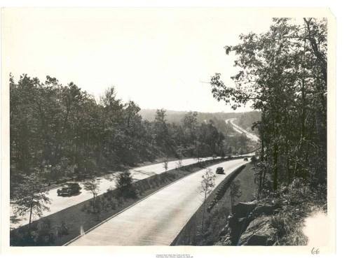 Merritt Parkway snaking through the terrain in Fairfield County
