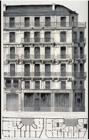Figure 14. Building elevation and plans of typical apartment block in Paris