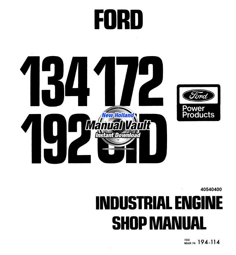 ford 134  172  192 cid engine repair shop manual