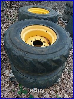 4 Used 14 17 5 Foam Filled Skid Steer Tires Amp Rims For New