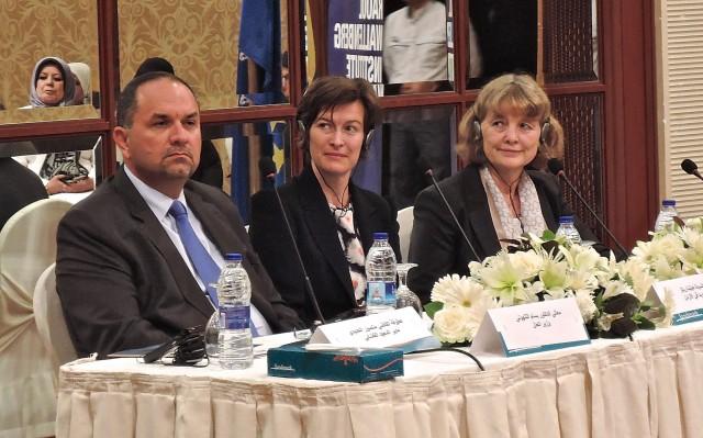Minister of Justice, H.E. Dr. Bassam Al-Talhouni; Swedish Ambassador to Jordan, H.E. Ambassador Helena Gröndahl Rietz, and Vice Chairperson of the Board of Trustees of RWI, Professor Christina Moëll.