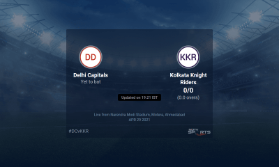 Delhi Capitals vs Kolkata Knight Riders live score over Match 25 T20 1 5 updates | Cricket News