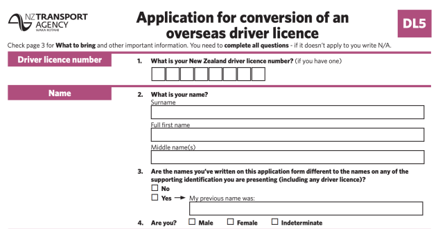 new zealand drivers license conversion application