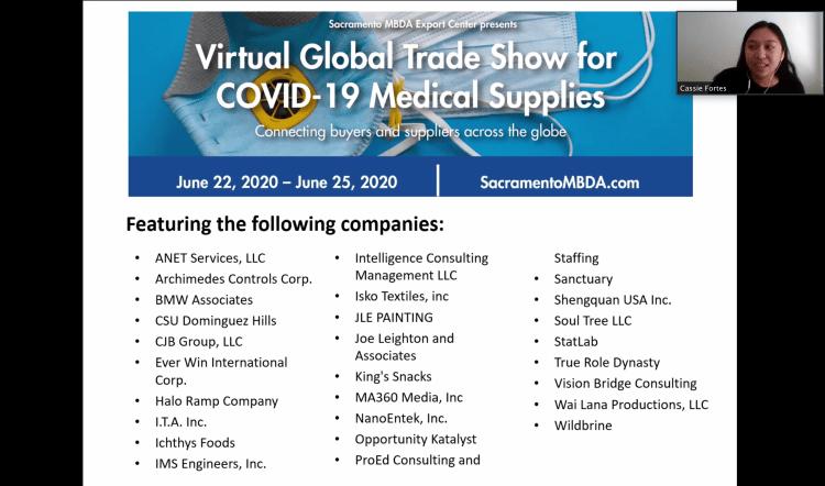Sacramento MBDA Virtual Global Trade Show