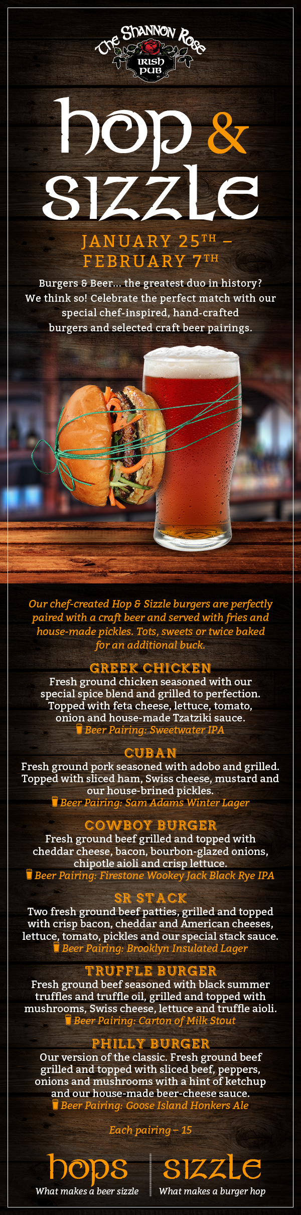 new hop and sizzle menu at shannon rose irish pub new jersey isn
