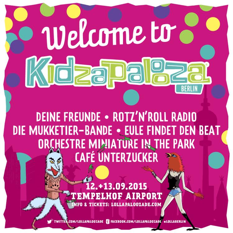 Für die Eltern und großen Kinder treten beim Lollapalooza in Berlin Deichkind, Beatsteaks, Muse und The Libertines auf. Für die kleineren Kinder hingegen diese Kapellen hier. (Grafik: Kidzapalooza)