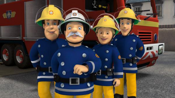 Das Kernteam der Feuerwache Pontypandy: Sam, Hauptmann Steele, Penny Morris und Elvis Cridlington (Bild: KI.KA/HIT Entertainment)