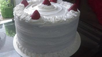 4 Layer Strawberry & Creme Cake
