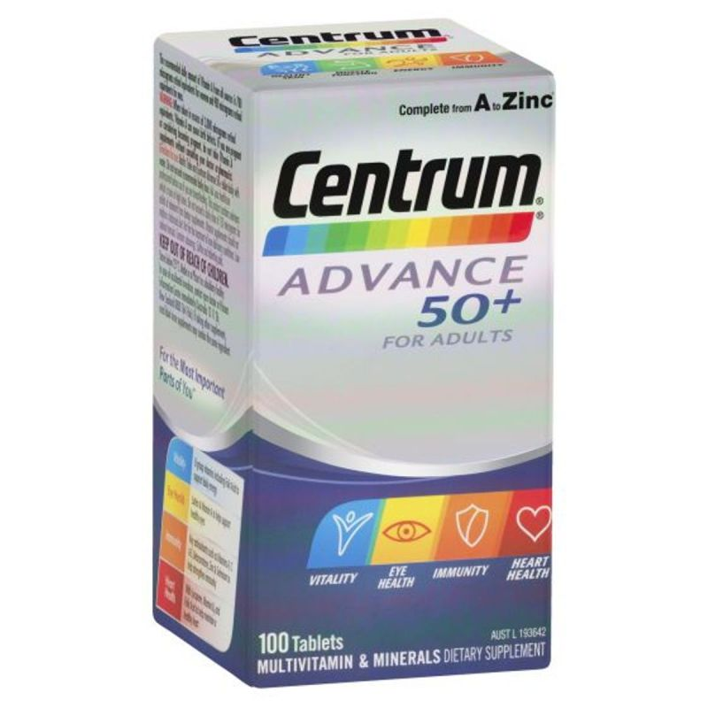 Centrum Advance 50+ For Adults Tablets - 100 Pack