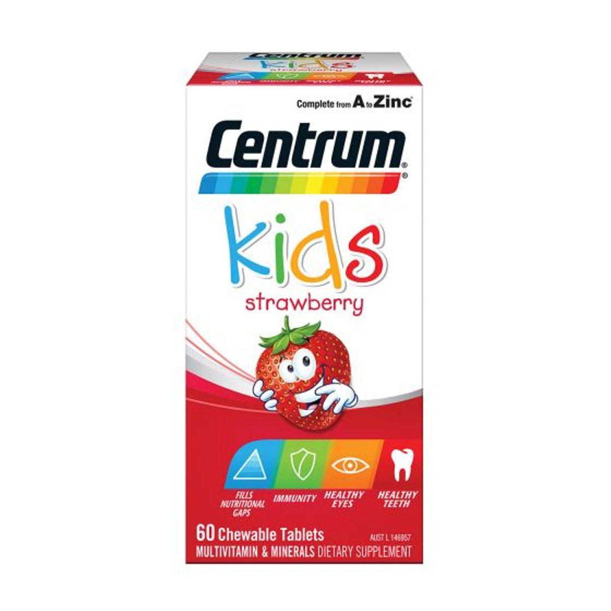 Centrum Kids Multivitamins & Minerals Strawberry 60 Chewable Tablets
