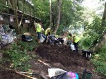 moving the soil from the pond to other parts of the garden