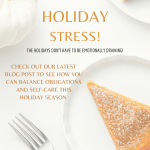 """Pumpkin pie on a plate with white pumpkin and a fork. Text: """"holiday stress"""" in orange."""