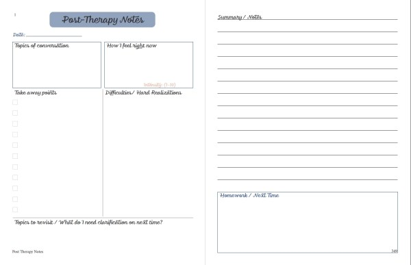 printable planner post therapy notes