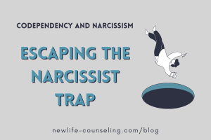 graphic of a person falling in a hole. Text on the left that reads Codependency and Narcissism, Escaping the Narcissist Trap