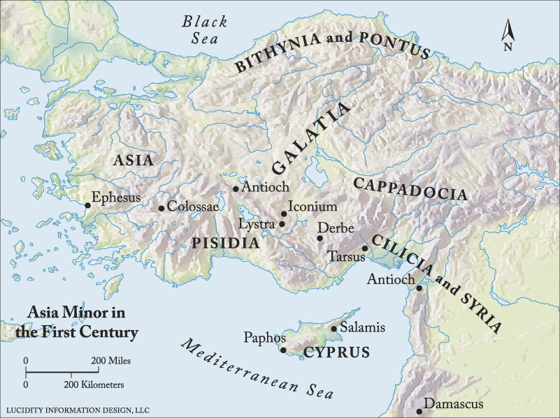 A map showing where the provinces of Pontus, Galatia, Cappadocia, Asia, and Bithynia are in the country we now call Turkey
