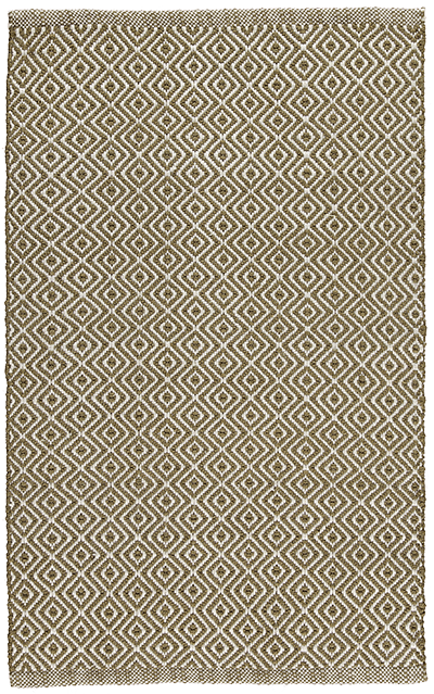 Newlife Rugs Diamond green and white 100% recycled plastic rug