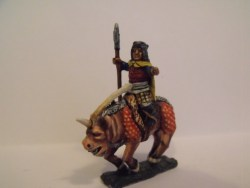 Dwarf Mounted on Warhog - Bearskin Headdress, Holding Halberd