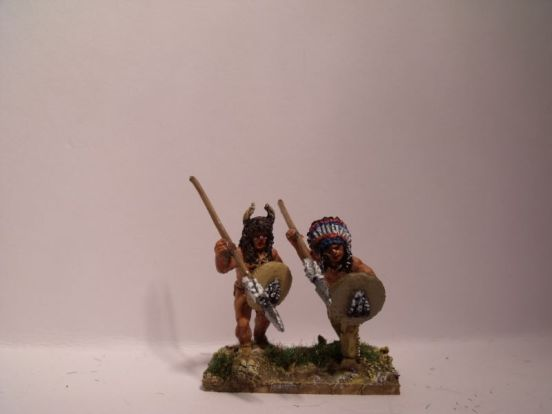 Sioux Warriors With Spears in Headress