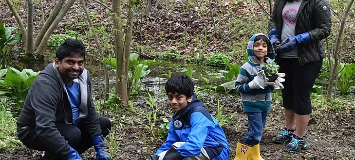 Family of 2 adults and 2 children smiling at the camera while planting plants in the park.