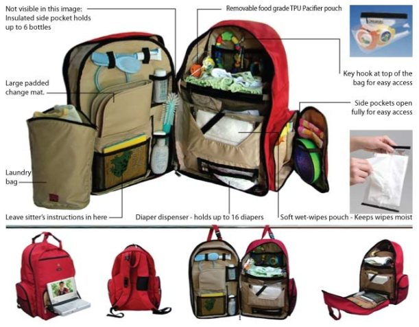Okkatots-Travel-Baby-Depot-Backpack-Bag-Red-Features