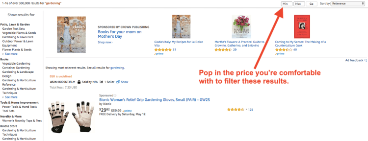 Filtering the Price Range to find the Most Profitable Amazon Private Label Products