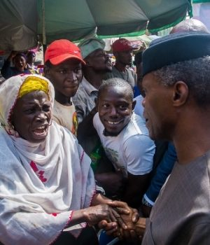 Vice President Yemi Osinbajo on a house-to-house campaign in Lagos