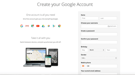 Gmail Create Account