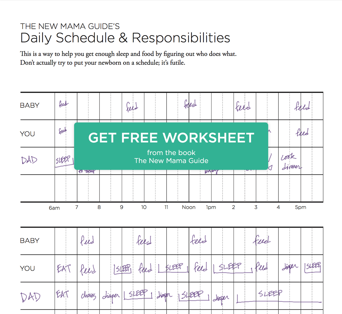 Schedule Worksheet New Mama Guide