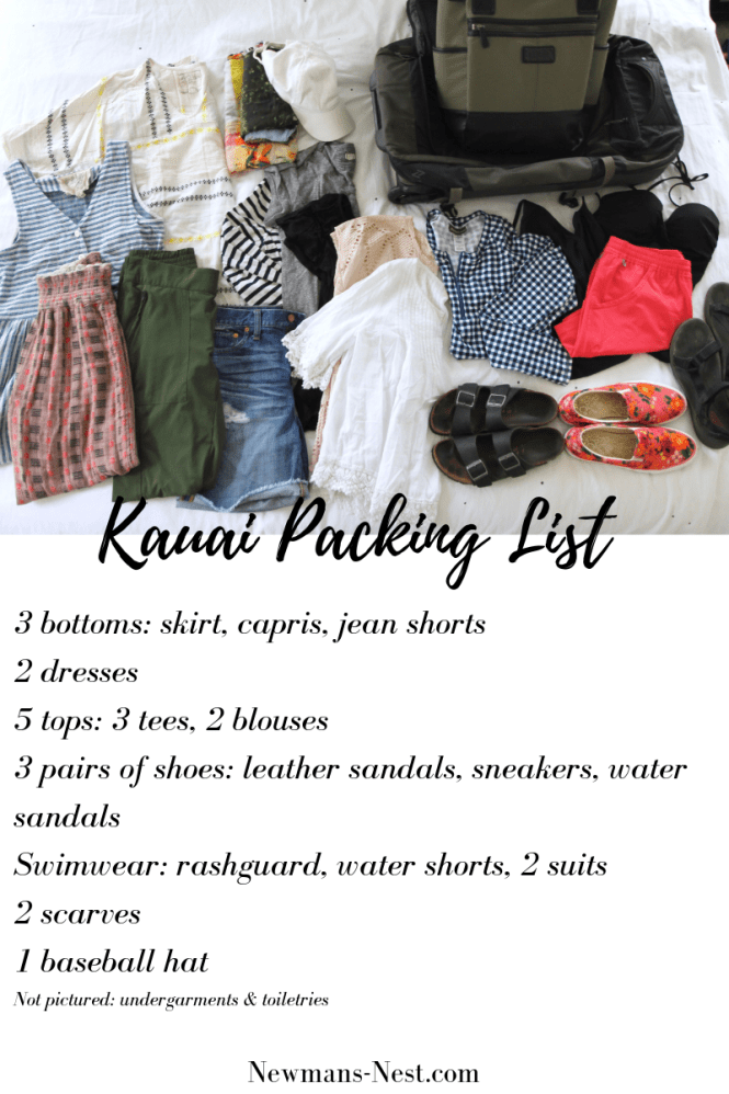 Kauai Packing list, beach vacation packing