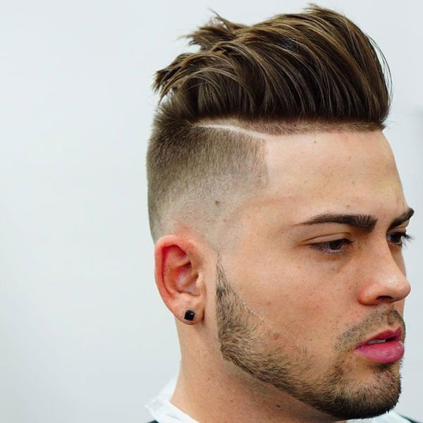 Thick Swept Back Undercut Fade