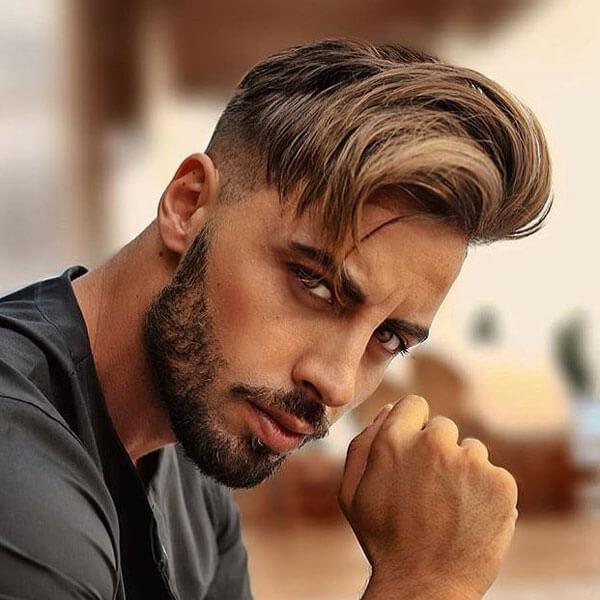 Side Swept Hairstyle + Undercut + Short Beard