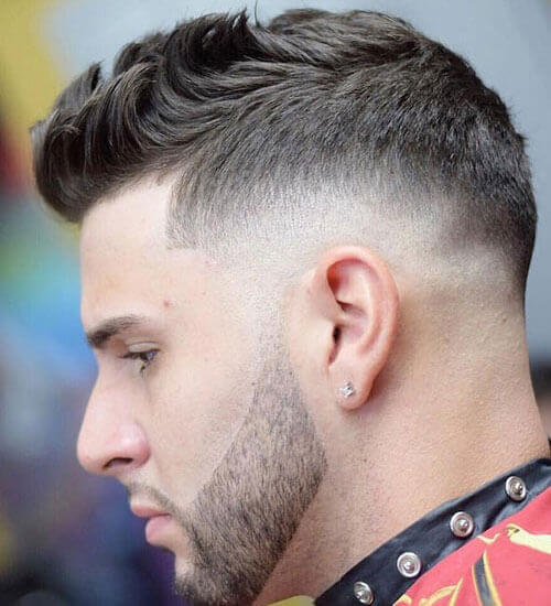 Short Spiky Hair with Mid Fade + Heavy Stubble Beard