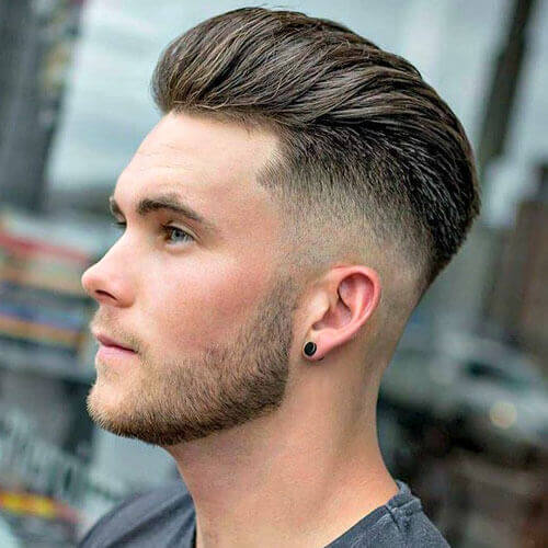 Thick Beard Stubble + Brushed Back Hairstyle