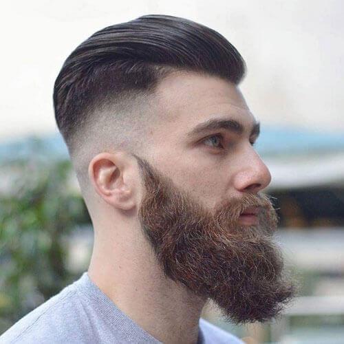 Brushed Back Hair + Bushy Beard + Razor Fade
