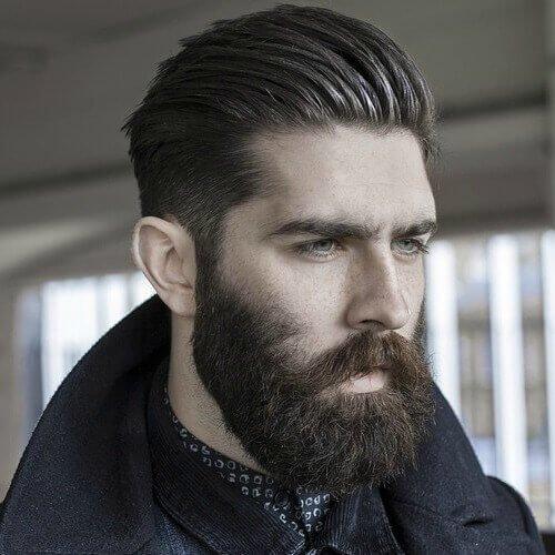 Textured Slick Back Taper with Full Medium Beard Style
